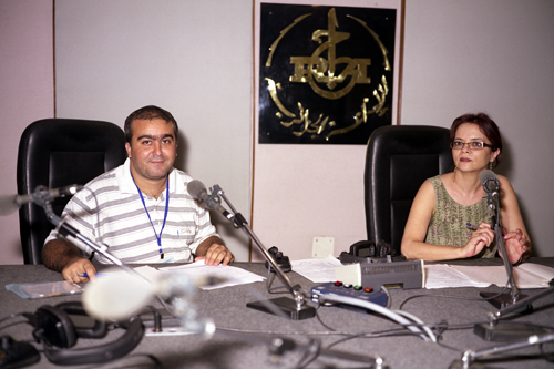 Mounir Amine and Leila Aboura, presenters and journalists, Radio Nationale Algerienne, chaine 3, Algiers, Algeria